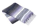 Light Purple, Charcoal and White Mexican Blanket