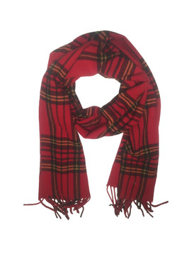 Wool/Bamboo Viscose /Polyester Winter Scarf {UNISEX} - Red Check