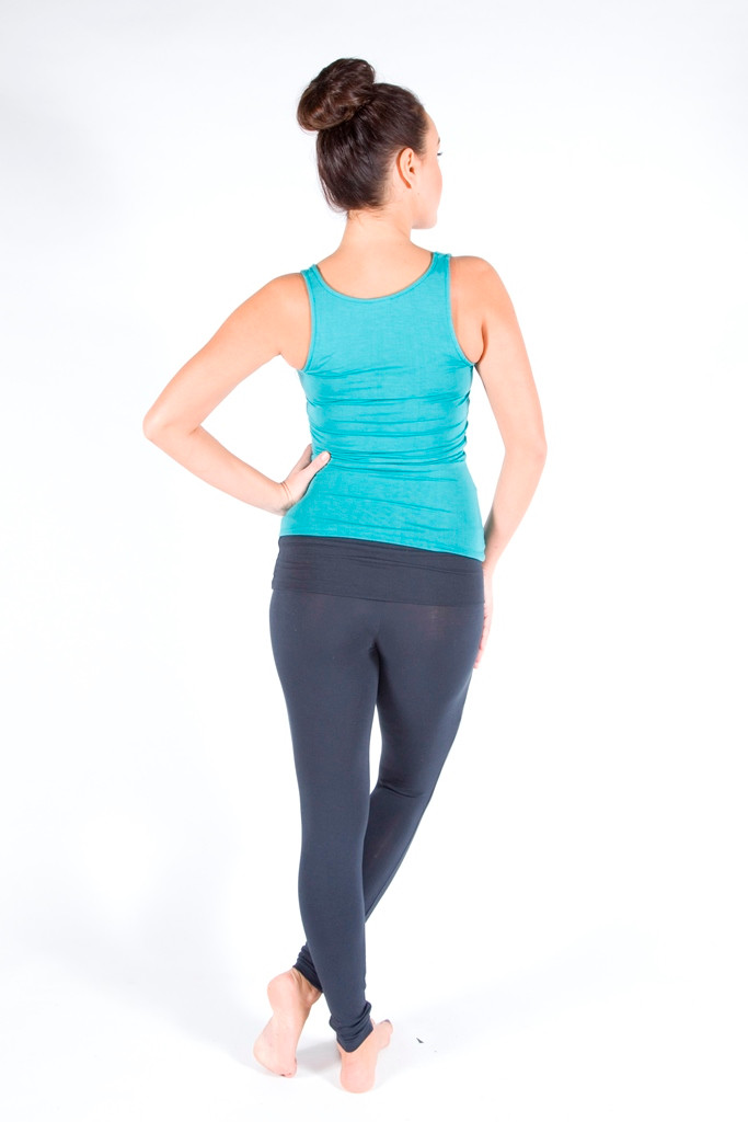 Full Length Leggings. Colour Pictured: Charcoal With tank in teal