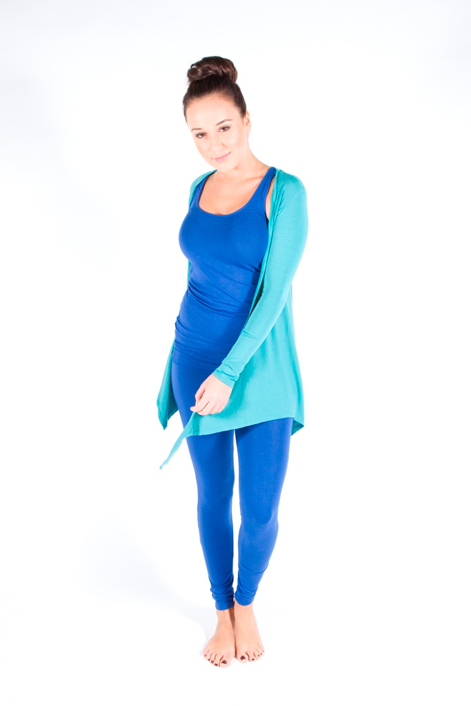 Full Length Leggings. Colour Pictured: Blue With Tank and Cardigan
