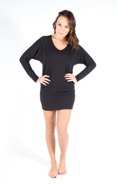 Bamboo Slouch Dress. Colour Pictured: Black