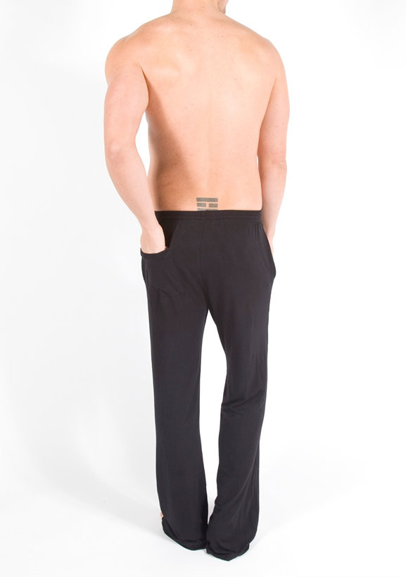 Men's Bamboo Lounge Pant Back - Pictured: Black