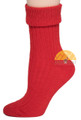 Women's Ribbed Crew Alpaca Socks by AndeanSun - Bright Red - 16711705