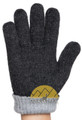 REVERSIBLE Classic Jersey Knit Blend Alpaca Gloves Made with 50% Alpaca Yarn by AndeanSun - Charcoal and Light Grey - 16783226