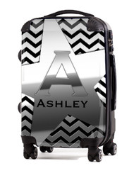 "Silver on Black 20"" Carry-on Luggage"