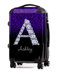 "Cheetah Diamond Initial-Purple 24"" Check In Luggage"