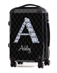 "Black Box Stitch Diamond Initial 20"" Carry-on Luggage"