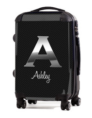 "Carbon Fiber Black Initial 24"" Check In Luggage"