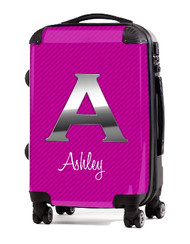 "Carbon Fiber Pink Initial 24"" Check In Luggage"