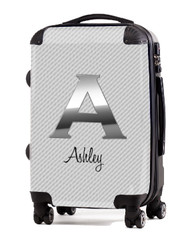 "Carbon Fiber White Initial 24"" Check In Luggage"