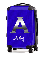 "Carbon Fiber Blue Initial 24"" Check In Luggage"