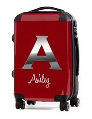 "Carbon Fiber Red Initial 24"" Check In Luggage"