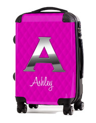 "Pink Box Stitch Silver Initial 20"" Carry-on Luggage"