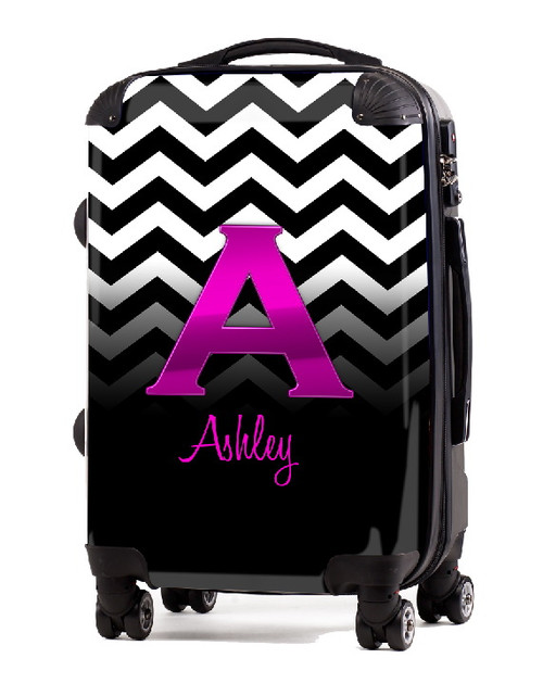 Black White Chevron Pink Initial 20