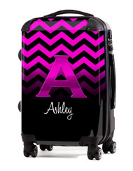 "Pink Chevron Pink Initial 20"" Carry-on Luggage"