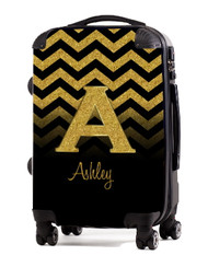"Gold Chevron Gold Initial 20"" Carry-on Luggage"