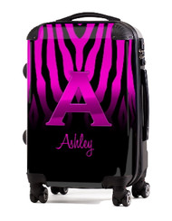 "Pink Zebra Pink Initial 20"" Carry-on Luggage"