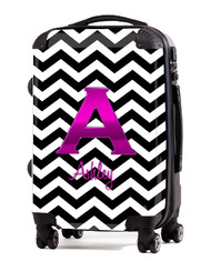 "Black Chevron Pink Initial 24"" Carry-on Luggage"