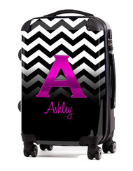"Black White Chevron Pink Initial 24"" Carry-on Luggage"