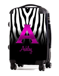 "Black White Zebra Pink Initial 24"" Carry-on Luggage"