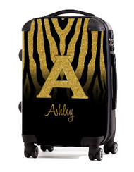 "Gold Zebra Gold Initial 24"" Carry-on Luggage"