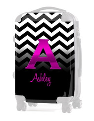 "INSERT BLACK WHITE CHEVRON PINK INITIAL  20"" Luggage"