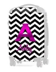 "INSERT Black Chevron Pink Initial"" Carry-On Luggage"