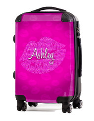 "Kiss Pink Glitter 24"" Check In Luggage"
