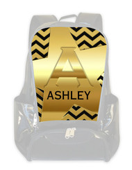 REPLACEMENT FACE Gold on Black Chevron-Personalized Backpack