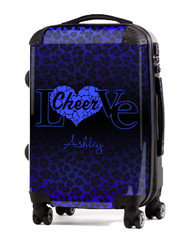 "Love Cheer Blue Cheetah 20"" Carry-on Luggage"