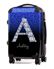 "Cheetah Diamond Initial-Blue 20"" Carry-on Luggage"