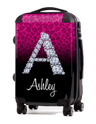"Cheetah Diamond Initial-Pink 24"" Check In Luggage"