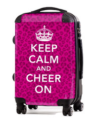 "Keep Calm and Cheer On-PINK-CHEETAH 24"" Check In Luggage"