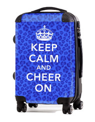 "Keep Calm and Cheer On-BLUE-CHEETAH 24"" Check In Luggage"