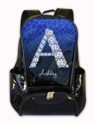 Blue Cheetah Diamond Personalized Backpack