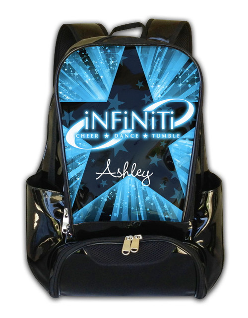 backpack sparkle logo metallic cheer large dancewear discounts nfinity at infinity black gold no nfbp backpacks relev w collections apply