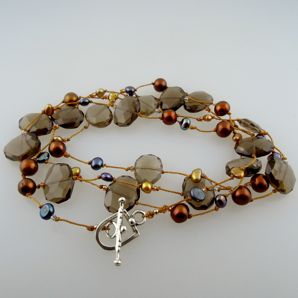smoky quarts slices with blue and golden brown pearls, sturdy sterling toggle clasp