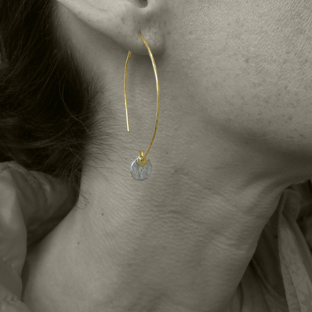 MODEL IS WEARING STERLING DAB WITH 14KT GF EAR WIRE, FOR SIZE REFERENCE