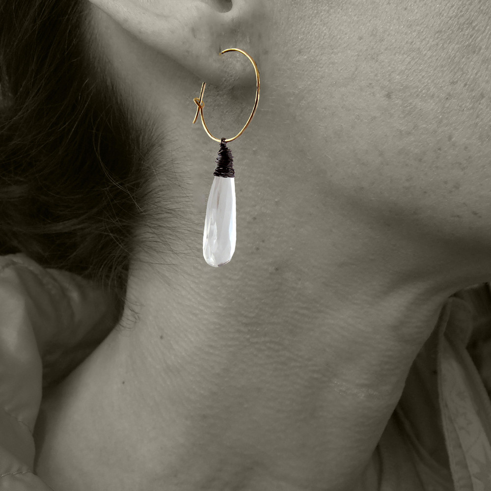 messy bessy - ET2 elongated teardrop crystal quartz ER hoops
