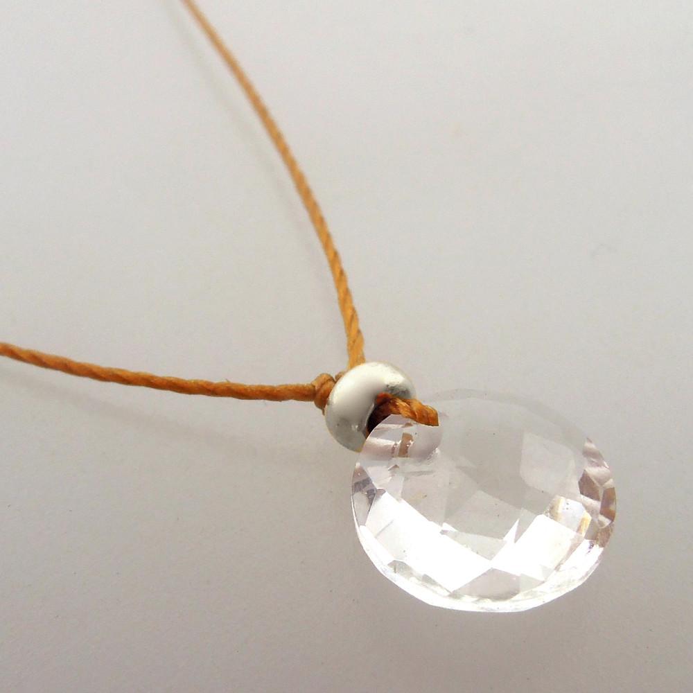 Clear Quartz Cutie Pie Necklace with  sterling accents