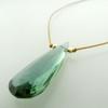 solo elongated teardrop - indicolite quartz 9c