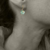 MODEL WEARING MOSS AQUAMARINE IN 18KT GOLD -  FOR SIZE REFERENCE