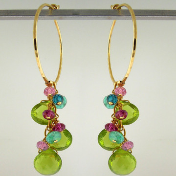 flirt - peridot mix hoops