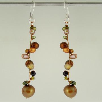 latham pearl bronze earrings
