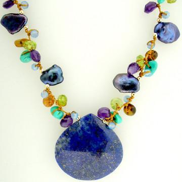 galaxy pendant - lapiz lazuli