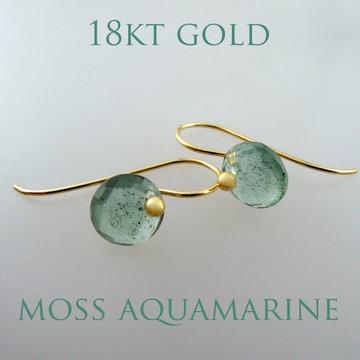 Cutie Pie - Moss Aquamarine 18kt ER  8mm