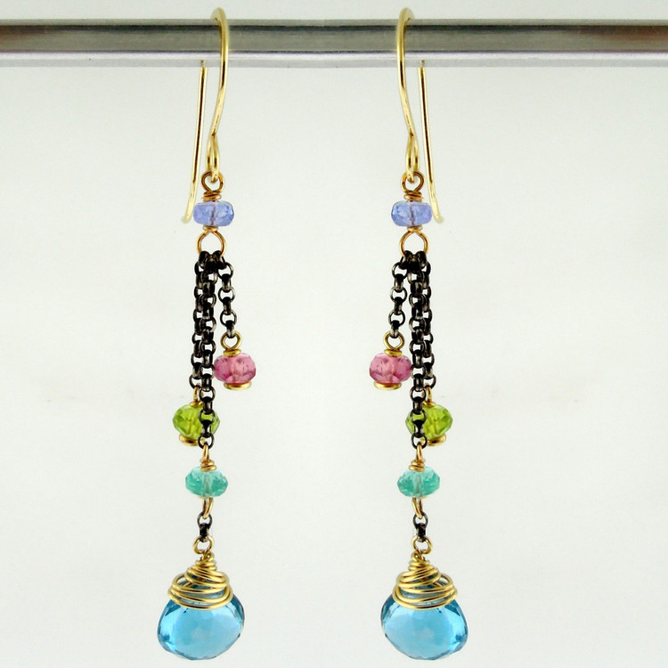 dancing queen - minuet  swiss blue topaz OX earrings