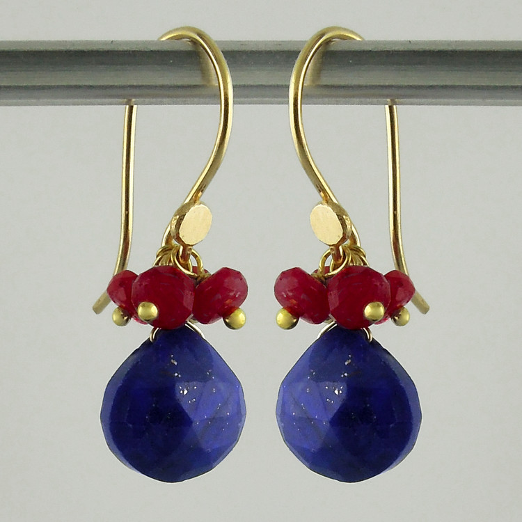pop tops - lapis/natural ruby 18kt ER
