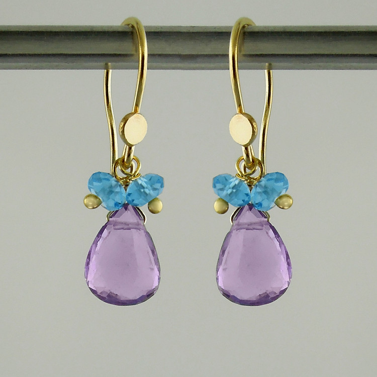 splish splash - lilac amethyst/swiss blue topaz18kt ER teardrop 2ct