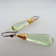 messy bessy - ET1 elongated teardrop prasiolite 8c earrings